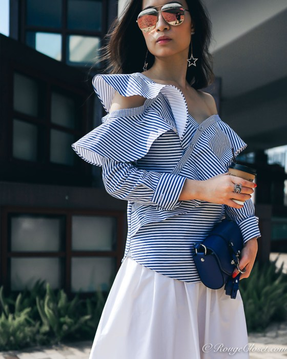 Self-Portrait Asymmetric Ruffle One-shoulder Stripe Poplin Top