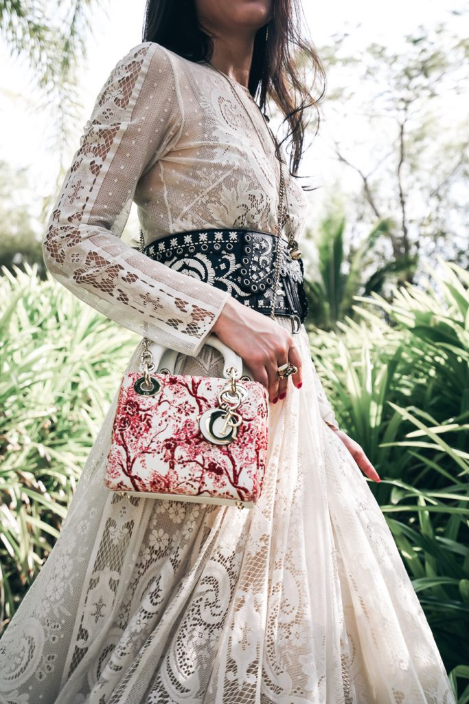 Mini Lady Dior in Latte Blooming Flowers silkscreen printed smooth calfskin with beads embroidery