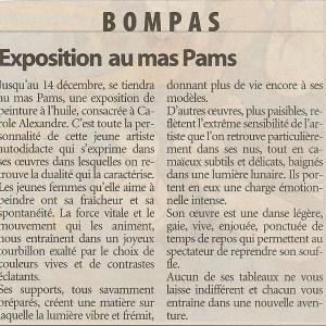Article journal exposition à Bompas au Mas Pams en 2003