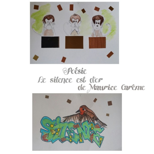 """Illustration de la poesie : """"Le silence est d'or""""de Maurice Carême"""