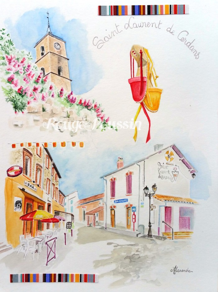 Aquarelle de Saint-Laurent-de-Cerdans