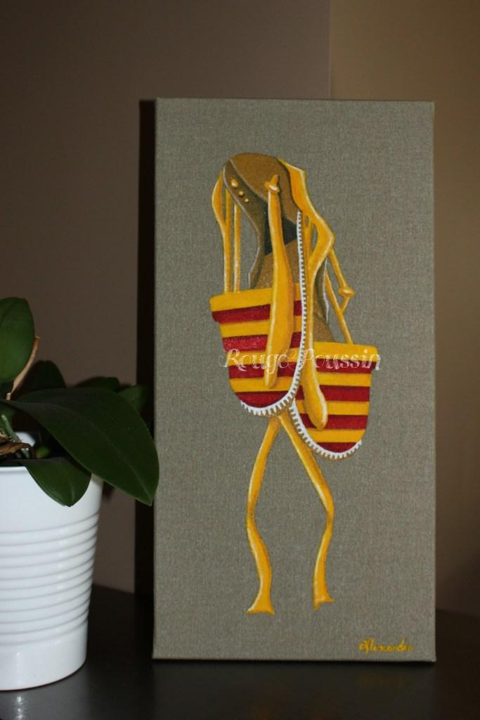Tableau de Carole Alexandre représentant des espadrilles sang et or à dominante jaune créées tout spécialement pour la Fête de l'espadrille