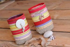 Corbeilles bi-matières : tissu et crochet
