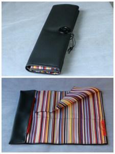 Trousse à pinceaux multicolore simili cuir noir.