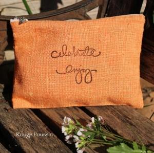 Pochette en tissu - coloris orange foncé