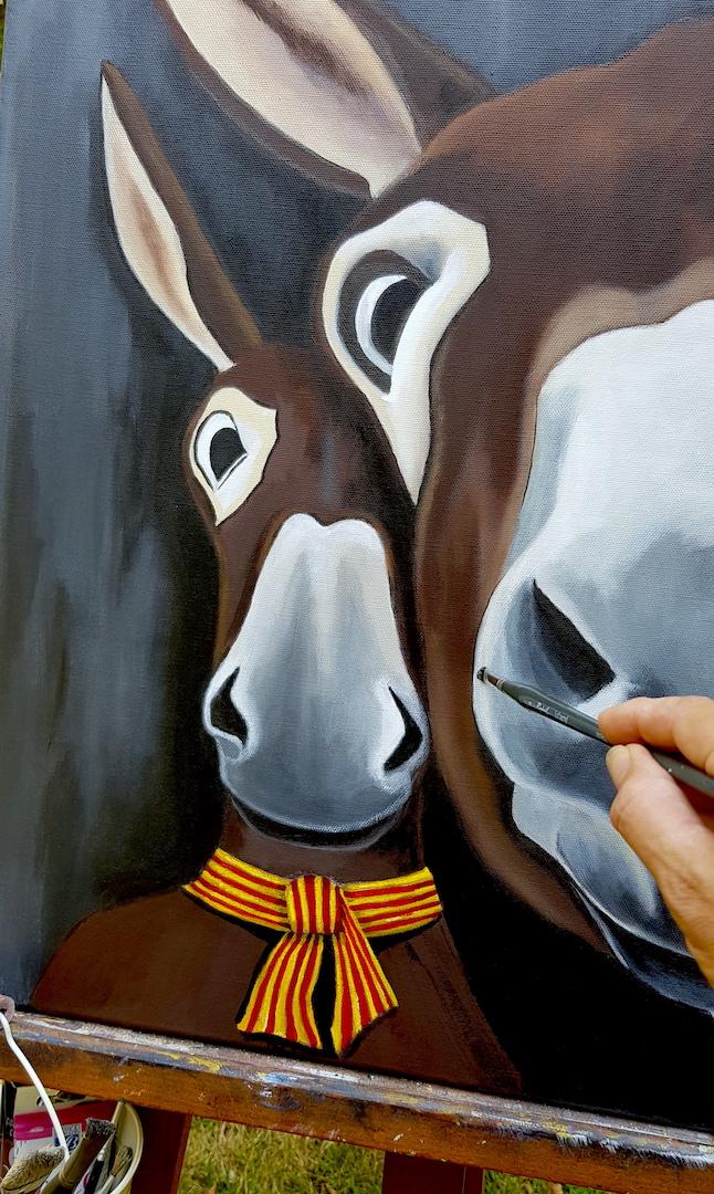 Zoom sur l'âne en second plan sur le tableau de Octave