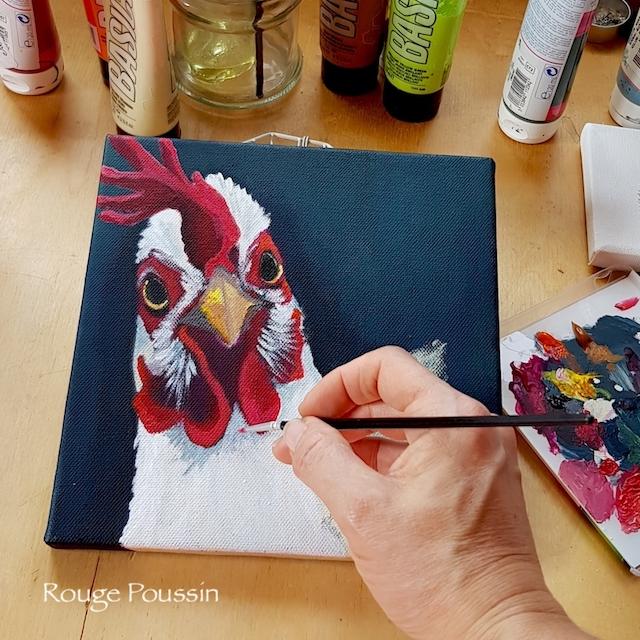 """Peinture à l'acrylique en cours, représentant le portrait d'un coq. Tableau de la série """"Viens ma poule, on se casse"""""""