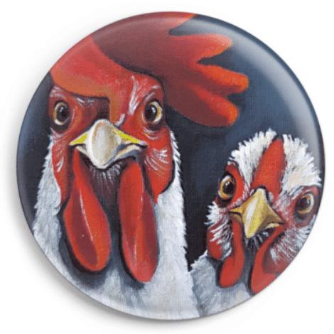 Magnet représentant le portrait d'une poule et d'un coq, reproduction du tableau réalisé à l'acrylique par l'artiste peintre Carole Alexandre