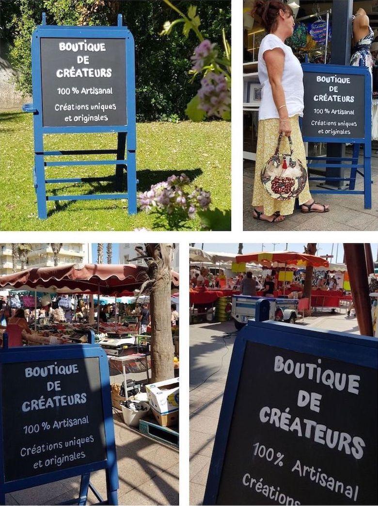 Panneau signalétique créé pour la boutique de créateurs à Canet plage en 2019