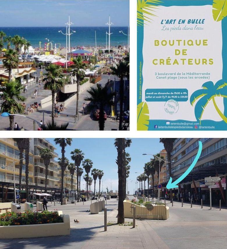 """Situation géographique de la boutique de créateurs : """"L'art en bulle"""" pendant la saison 2019 à Canet plage"""