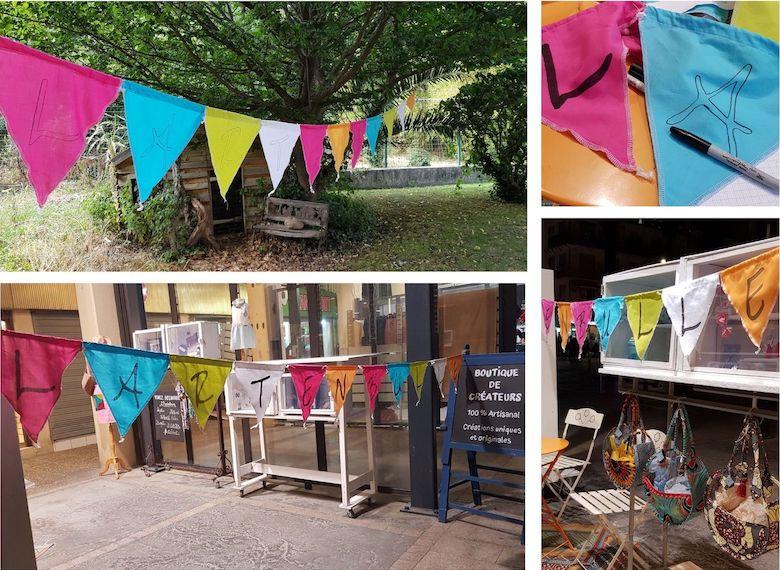Réalisation d'une banderole avec des triangles en tissus pour la boutique de créateurs à Canet pour la saison 2019