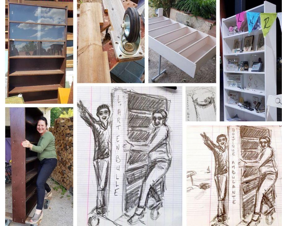 Réalisation d'un meuble vitrine pour la boutique de créateurs à Canet plage lors de la saison 2019