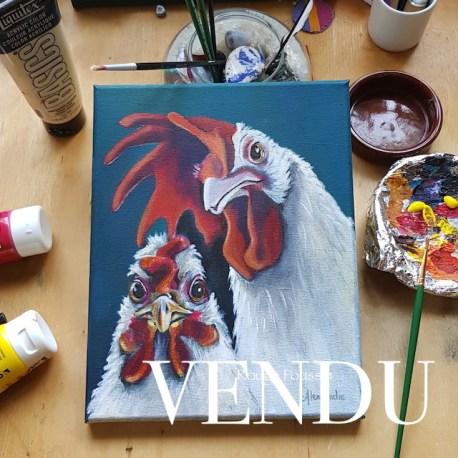 Portrait d'une poule et son coq à l'acrylique