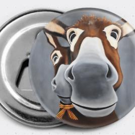 Le magnet-décapsuleur Léogâne représente le portrait de deux ânes catalans. Reproduction du tableau original réalisé à l'acrylique par l'artiste peintre Carole Alexandre.