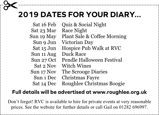 2019 Dates - Roughlee Village Centre