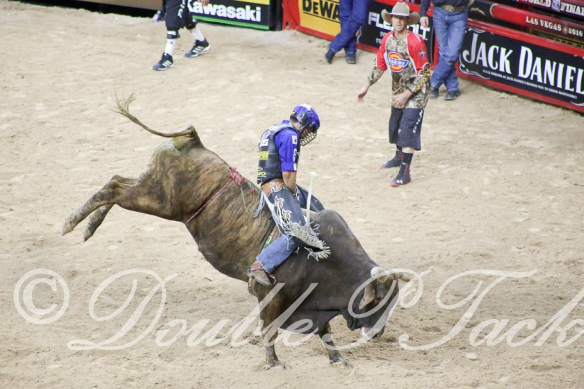 Kaique Pacheco rides Crazy Horse of Rocking I Rodeo for a score of 89 to further his lead in the 2016 PBR World Finals.