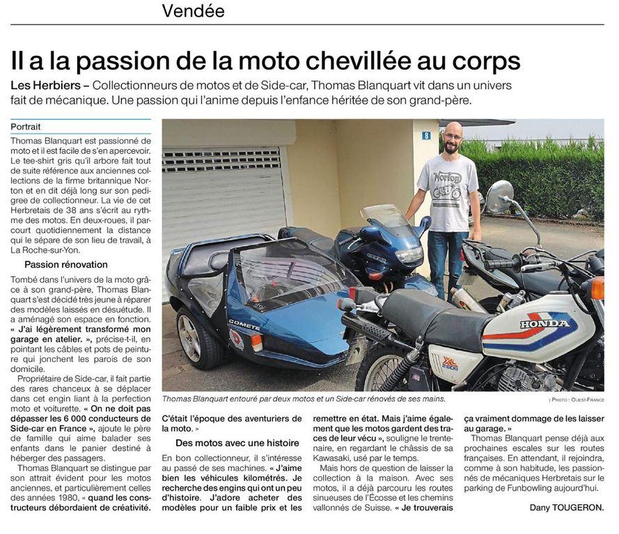 Dimanche Ouest France - Vendée - édition du 26 juillet 2020 - Portrait de Thomas Blanquart