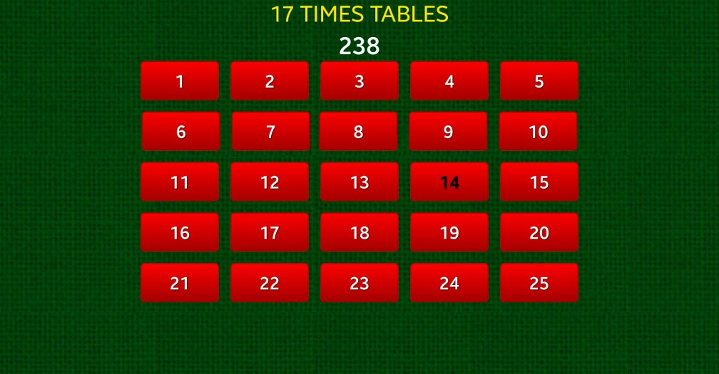 18 Quick Times Tables 17 Answer