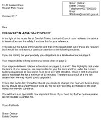 Fire safety in leaseholder property