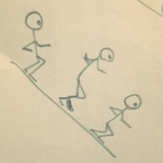 下り坂の説明を考えてて描いた落書き。最近こんなことばっかり考えてていろいろ捗らない。。。