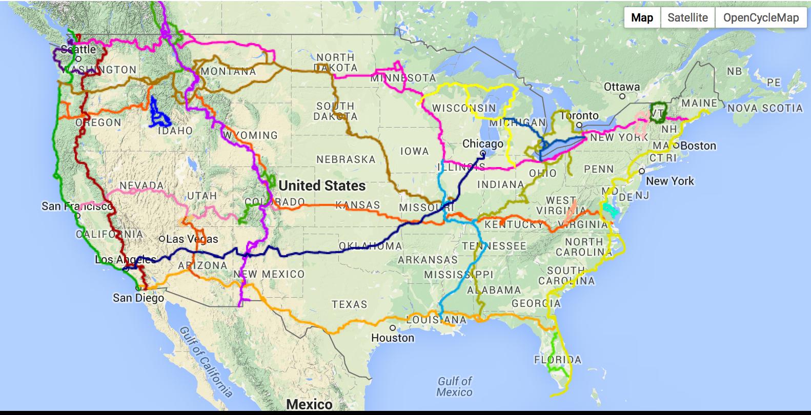 Route Route Corners USA Biking Adventure - Us bike route map