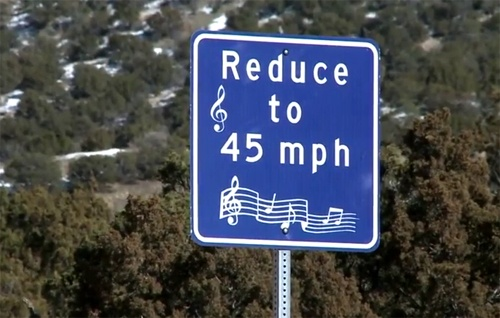 Singing road sign