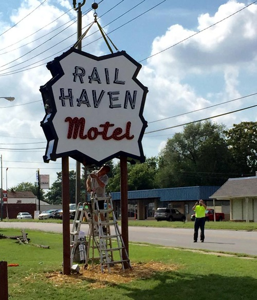 Rail Haven sign installation