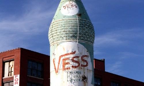Giant Vess Soda bottle in St. Louis being restored