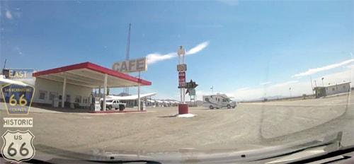 A high-speed trip on Route 66 through the Mojave Desert