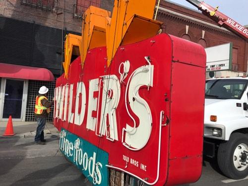 Wilder's Steakhouse rooftop sign removed for restoration