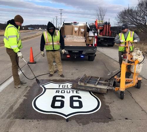 Tulsa adding Route 66 stencils on pavement
