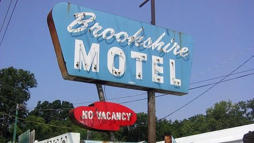Brookshire Motel sign in Tulsa being sold off piecemeal