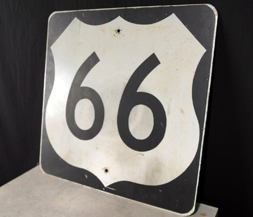 Original Route 66 sign being auctioned for Painted Desert Trading Post project