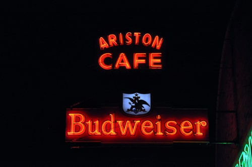 Switch is flipped on Ariston Cafe's neon restoration