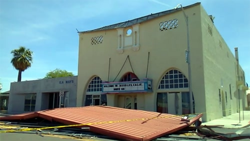 Roof blown off historic Needles Theatre
