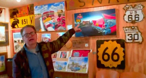 Program features Route 66 artist Jerry McClanahan, Round Barn volunteer Mr. Sam