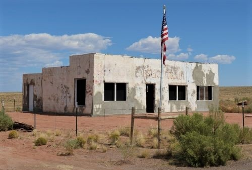 Some stucco repairs made to Painted Desert Trading Post