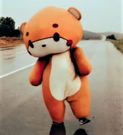 So who's the big teddy bear walking along Route 66?
