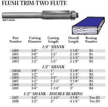 Whiteside Router Bits 2407 Flush Trim Bit with 1//2-Inch Cutting Diameter