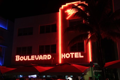 Boulevard Hotel night lights, Miami Beach