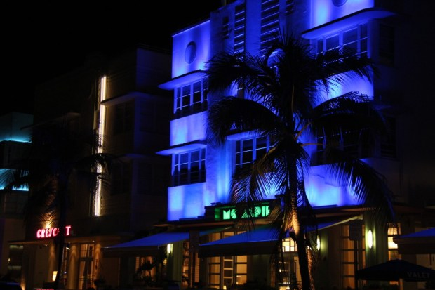 Mc Alpin building, Ocean Drive Art Deco district at night