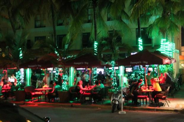 Ocean Drive art deco district at night