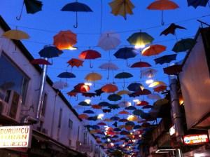 Umbrellas above a restaurant street