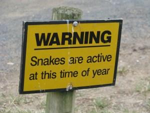 Snake warning, Cape Otway, the Great Ocean Road