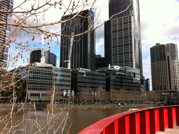 Southbank skyscrapers from the Yarra river walk
