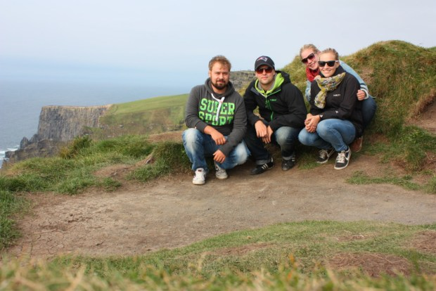 My friends and I at the Cliffs of Moher, Road trip in Ireland