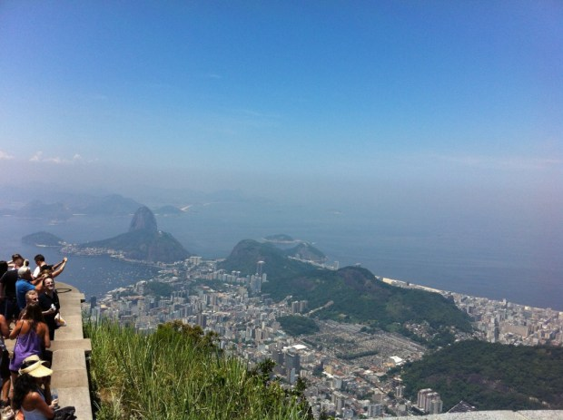 Tourists at Christ the Redeemer, sightseeing in Rio de Janeiro