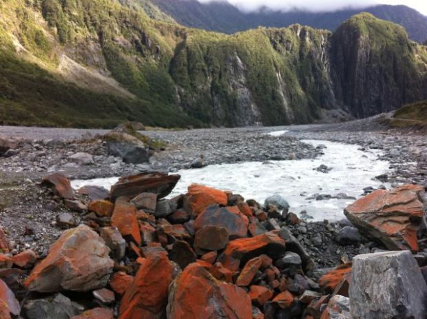 Fox Glacier New Zealand red stones