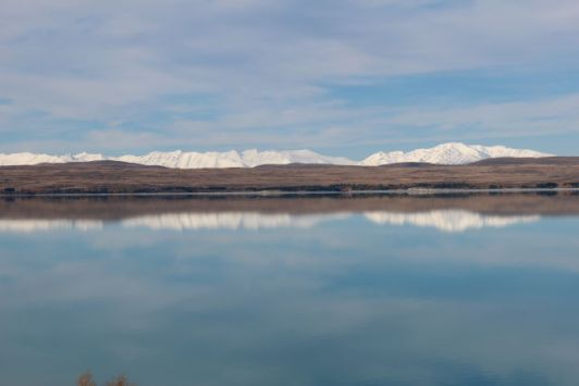 Lake Pukaki and mountain row