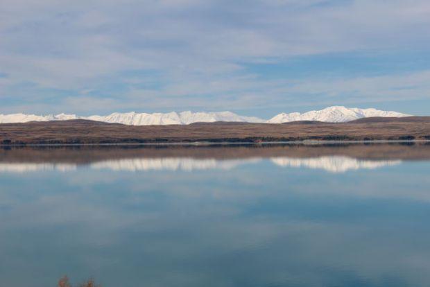 Lake Pukaki and mountain row